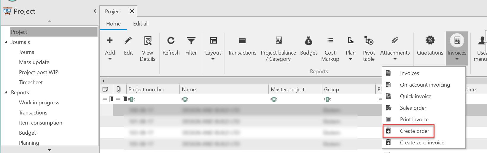 , Invoicing in the project module, Uniconta