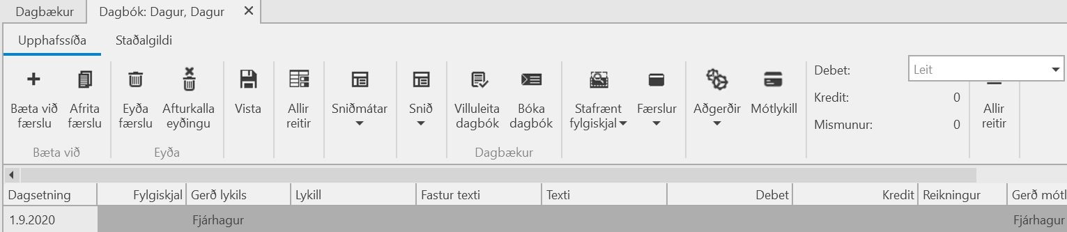 Byrja, Stofna fyrirtæki með stöðluðum bókhaldslyklum, Uniconta