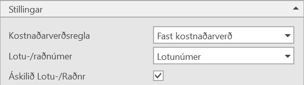 , – Innkaup á vörum með lotunúmer, Uniconta