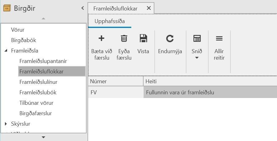 , Framleiðsluflokkar, Uniconta