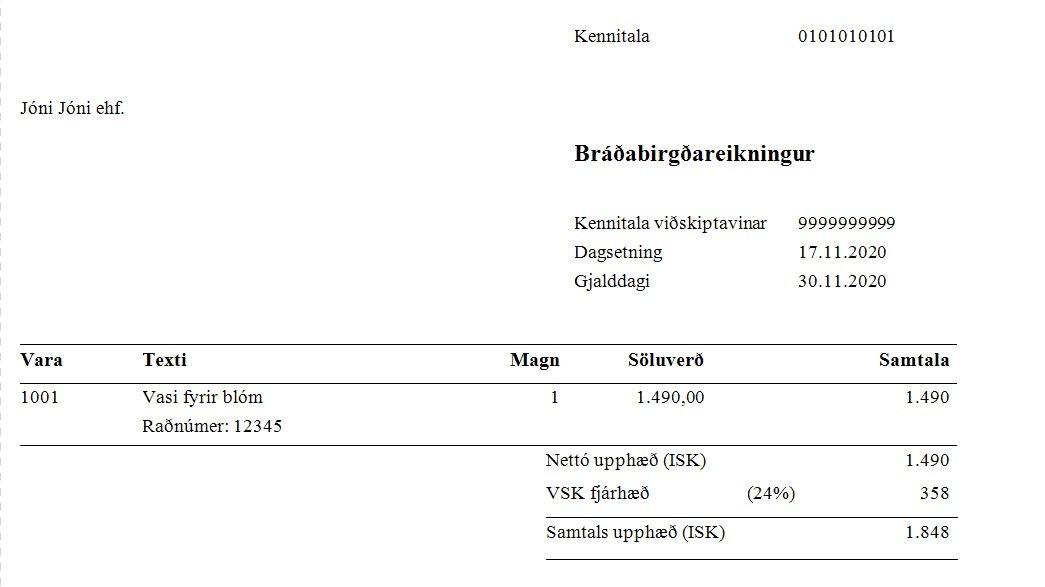 , – Sala á vörum með raðnúmer, Uniconta